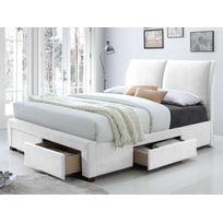 Lit 140x200 en pvc coloris blanc avec 4 tiroirs de rangement