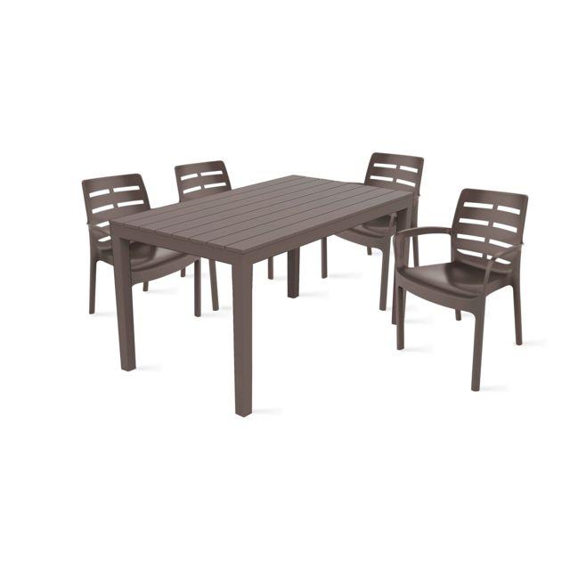 OVIALA - Table de jardin et 4 fauteuils en plastique - pas ...