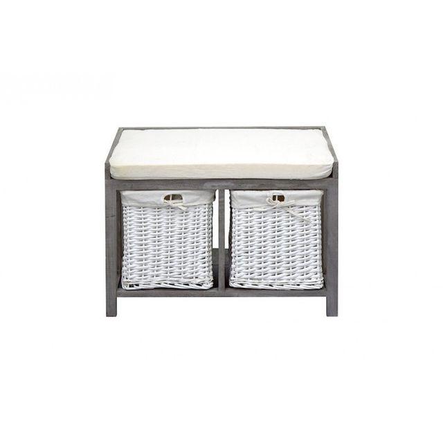 mobili rebecca banc coffre de rangement 2 tiroirs bois. Black Bedroom Furniture Sets. Home Design Ideas
