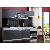 Baltic Meubles - Cuisine Topaze noir/gris chiné 2m40 / 6 meubles