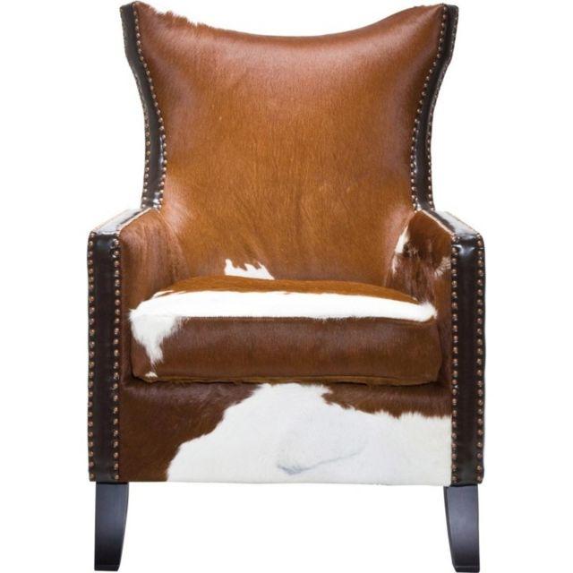 karedesign fauteuil oreilles denver cow kare design marron pas cher achat vente fauteuils rueducommerce - Fauteuil A Oreille Pas Cher
