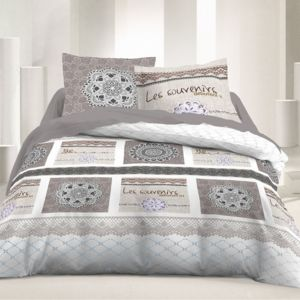 marque generique housse de couette 220x240cm 2 taies souvenirs 100 coton 57fils cm pas. Black Bedroom Furniture Sets. Home Design Ideas