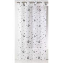 Home Maison - Voilage à œillets polyester imprimé fleur pissenlit blanc/noir 135x240cm Envol