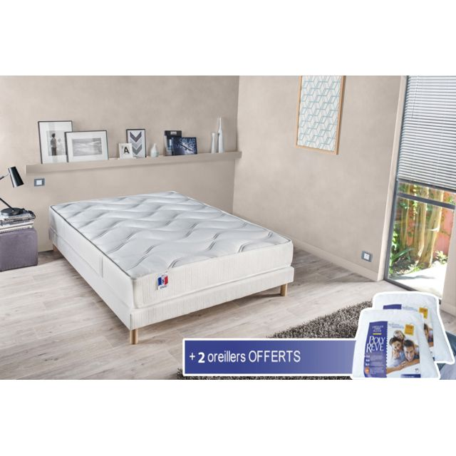 lovea ensemble matelas sommier tiphaine 2 oreillers blanc pas cher achat vente. Black Bedroom Furniture Sets. Home Design Ideas