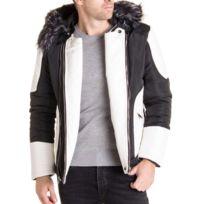 5a4c7cee9628c BLZ Jeans - Blouson noir blanc avec capuche fourrure noire et grise stylé  pour homme