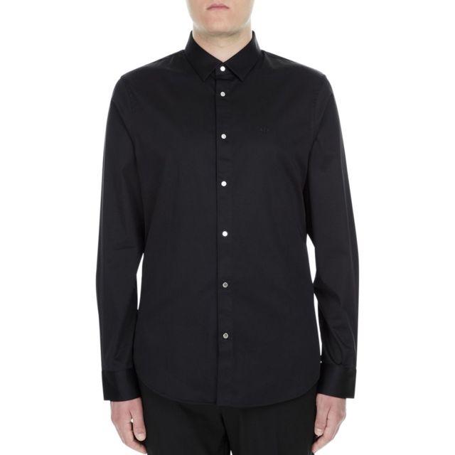 Armani Ea7 Chemise manches longues bouton métal Chemise Ml Noir