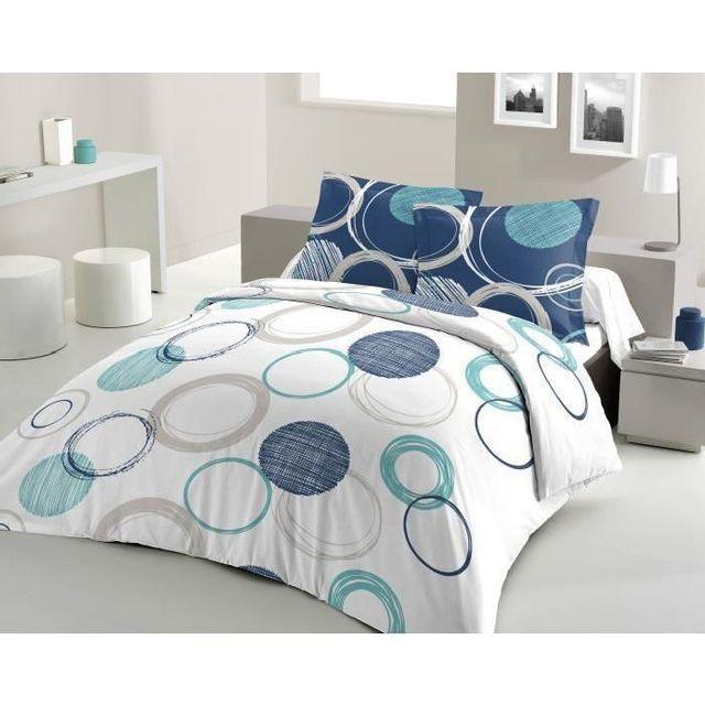 lovely home parure de couette 100 coton audace une housse de couette 220x240 cm 2 taies d. Black Bedroom Furniture Sets. Home Design Ideas