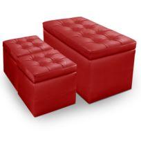 MENZZOPREMIUM - Banquette Coffre Panky + 2 poufs Rouge