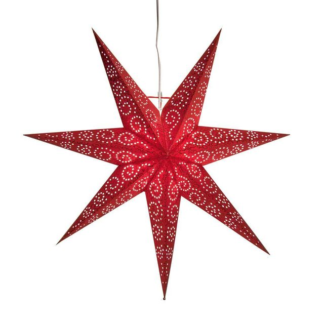 Xmas Living Glass Suspension Antique - Etoile lumineuse 60cm Rouge