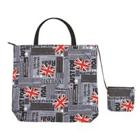 Happy Shop - Sac de Courses Pliable - Plié : 17x14cm - Déplié : 45x50cm - Gris London