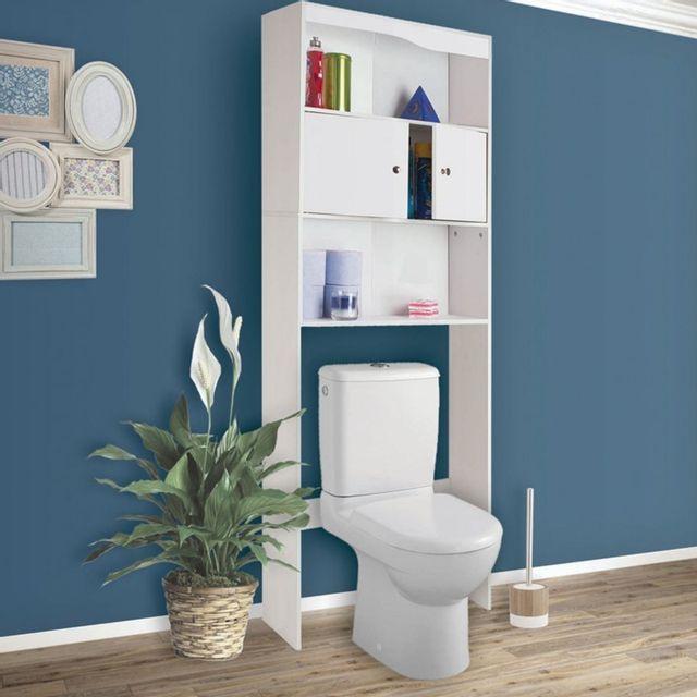 idmarket meuble tag re dessus wc en bois blanc cm pas cher achat vente colonne de. Black Bedroom Furniture Sets. Home Design Ideas