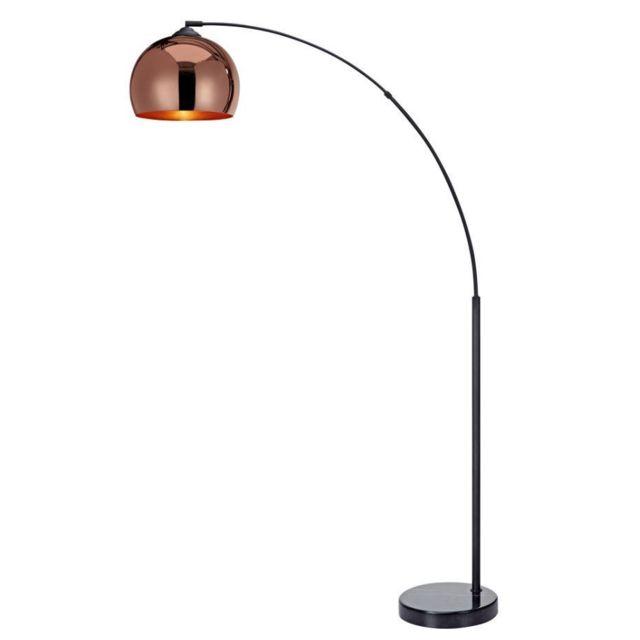 c8e5e8e1 VERSANORA - Versanora Arquer lampadaire arc lampe de sol abatjour rose doré  pied marbre noir