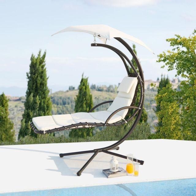 CONCEPT USINE - Ticana : fauteuil de jardin suspendu blanc avec auvent