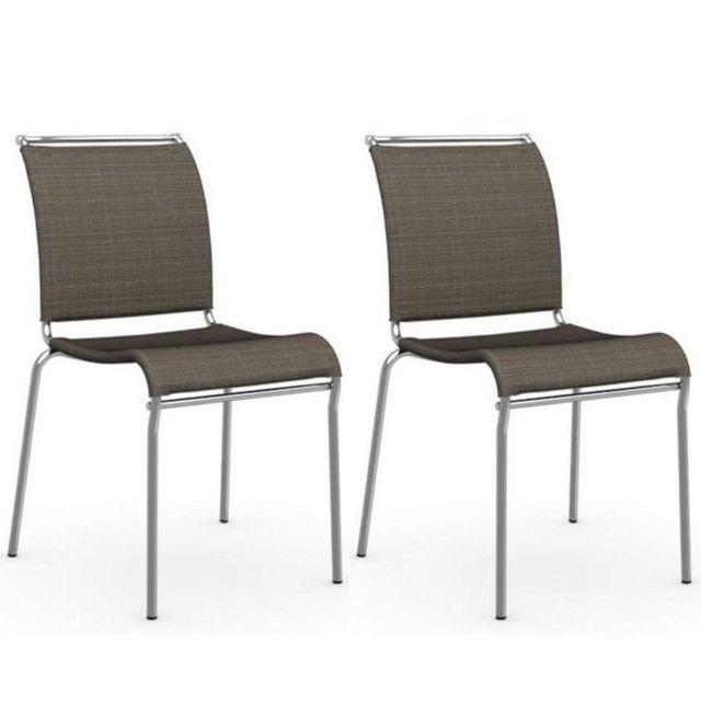 Inside 75 Lot de 2 chaises Air structure acier chromé assise tissus
