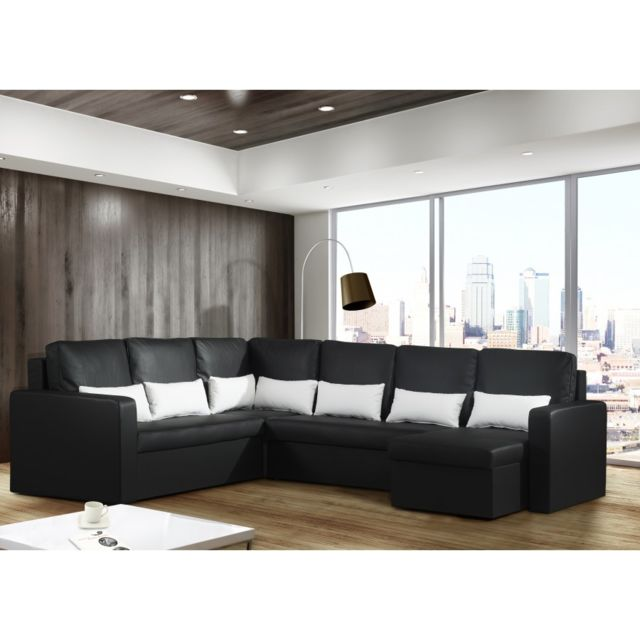 modern sofa canap panoramique convertible avec coffre noir 8 places romeo - Canape Panoramique Convertible