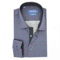 7dd83d4f4705 Meadrine - Chemise homme cintrée bleu marine col 1 bouton avec petit col  imprimée jacquard
