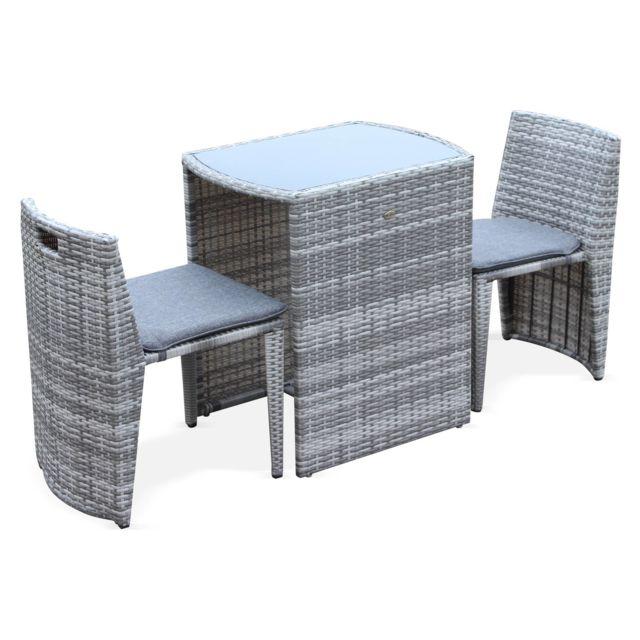 Table de jardin en résine tressée - Doppio - Nuances de gris, Coussins gris  chiné - 2 places, encastrable, spécial balcon ou petite terrasse