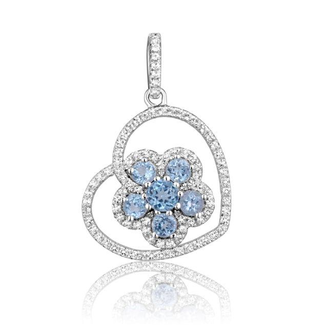 Blue Pearls - Pendentif Fleur en Argent et 96 Cristaux Swarovski Zirconia Blancs  et Bleus - Cry J248 X Plaqué or - pas cher Achat   Vente Pendentifs - ... a14af4b0f146