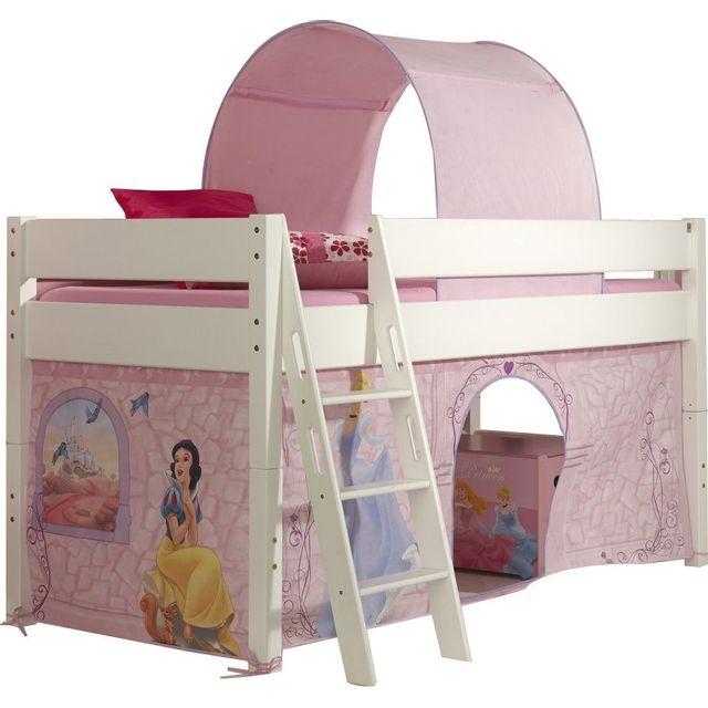 Comforium lit mi hauteur 90x200 pour enfant princesse - Tour de lit princesse disney ...