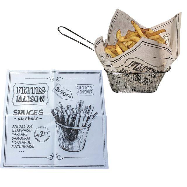 touslescadeaux 100 feuilles de papier absorbant pour frites burgers cornets frites. Black Bedroom Furniture Sets. Home Design Ideas