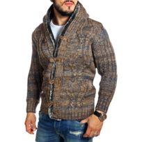 Carisma - Gilet homme à capuche camel en laine