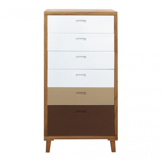 mobili rebecca armoire commode 6 tiroirs bois blanc marron moderne marron blanc
