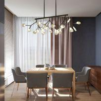 Lampe suspendue Luminaire Salon Personnalité créative Art Led Moderne Chambre minimaliste Restaurant Branche Firefly Lustre, 27 têtes droite Noir