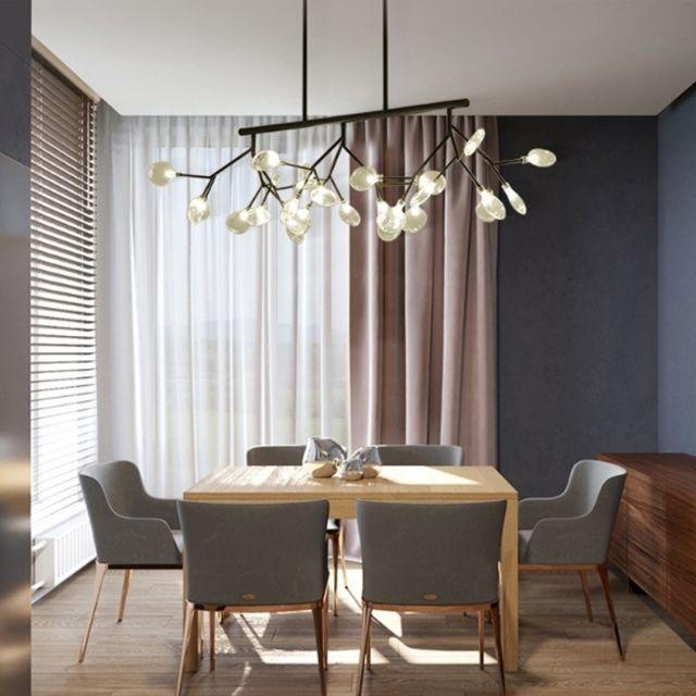 Lampe Suspendue Luminaire Salon Personnalite Creative Art Led Moderne Chambre Minimaliste Restaurant Branche Firefly Lustre 27 Tetes Droite Noir