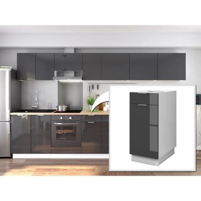 Elements Separes Bas Ava Caisson bas de cuisine L 40 cm - 1 porte, 1 tiroir  - Gris laqué