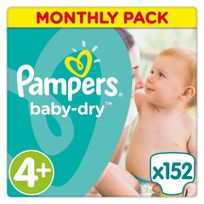 PAMPERS - Baby-Dry - Couches Taille 4+ Maxi+, 9-18kg - 152 couches