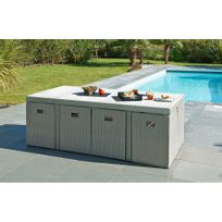 Dcb Garden - Ensemble de jardin encastrable 8 places gris