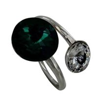 Les Poulettes Bijoux - Bague Argent Swarovski Vert et Cristal - taille 50