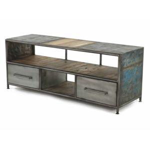 Zago - Meuble Tv bas en métal et bois avec tiroirs et niches ...