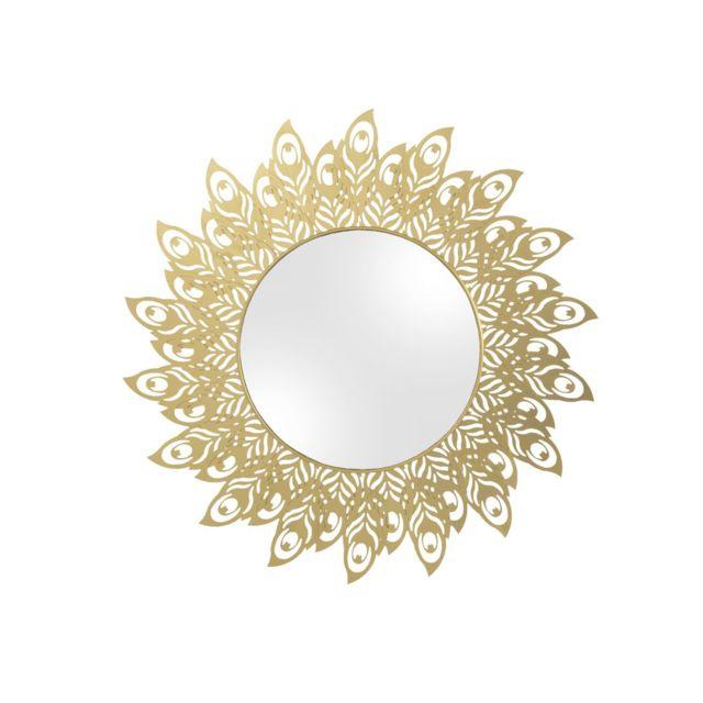 Present Time Miroir en métal filaire Plume - Diam. 60 cm - Doré