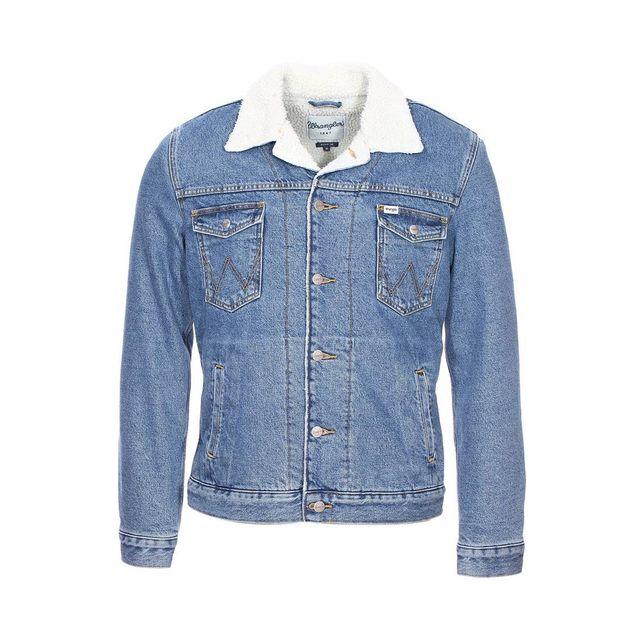 wrangler veste en jean sherpa bleu clair pas cher achat vente blouson homme rueducommerce. Black Bedroom Furniture Sets. Home Design Ideas