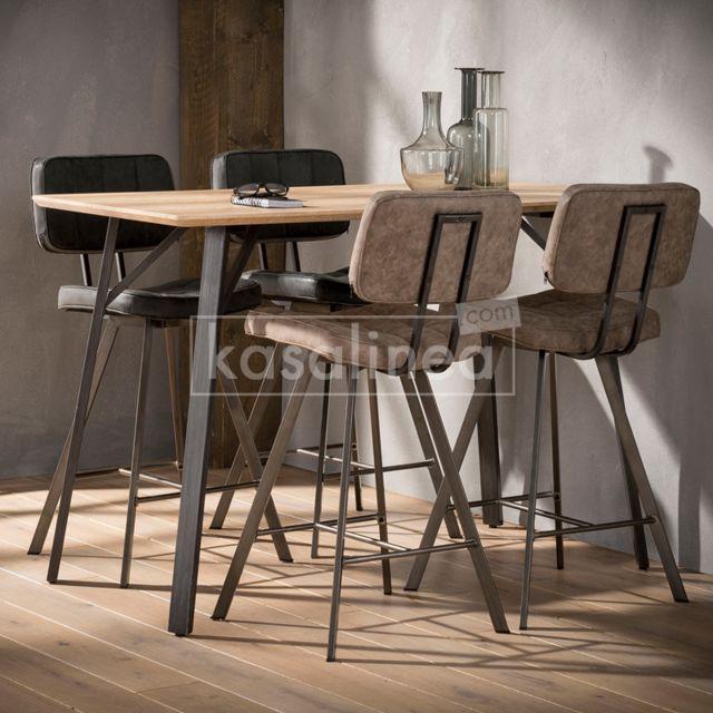 Kasalinea Table haute couleur bois et acier Oxford
