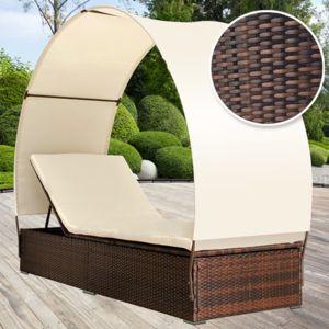 Miadomodo chaise longue en poly rotin avec pare soleil for Chaise longue avec pare soleil pas cher