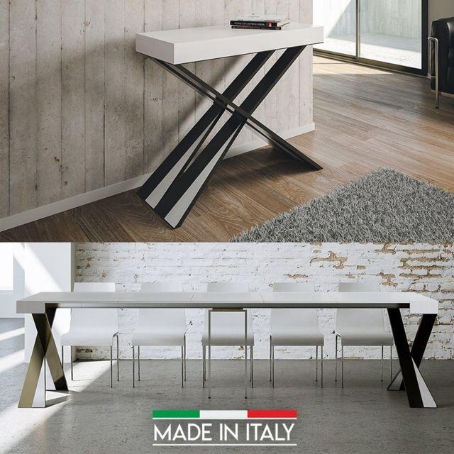 Meubler Design Table Console extensible Diago - Frêne blanc, Nombre d'extensions - 5 Rallonges