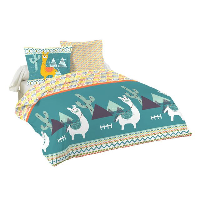 stof parure housse de couette taies enfant coton lama cactus motif ethnique bleu 200x200cm. Black Bedroom Furniture Sets. Home Design Ideas