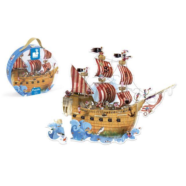 JANOD Floor Puzzle - 39 pièces : Le bateau de Pirates