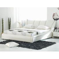 Beliani - Lit design en cuir - lit double 160x200 cm - sommier inclus - Nantes / Blanc