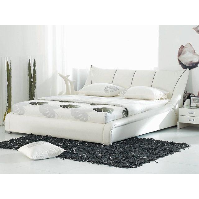 Beliani Lit à eau - lit en cuir 160x200 cm - blanc - Nantes