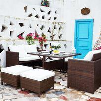 Nouméa Marron/Blanc : salon de jardin encastrable en résine tressée 8 personnes