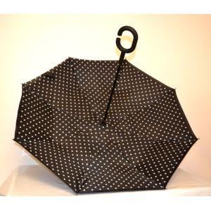 sans marque parapluie invers anti temp te poign e c main libre motif pois pas cher. Black Bedroom Furniture Sets. Home Design Ideas