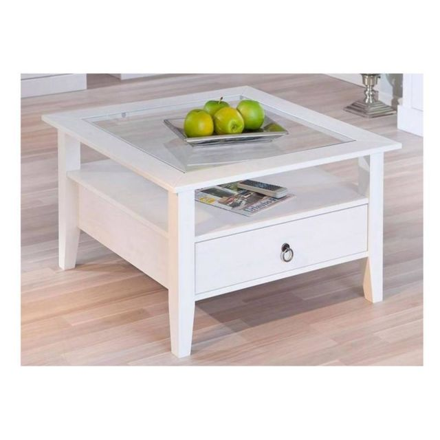 Inside 75 Table Basse Design Provence Blanche En Pin Massif Et