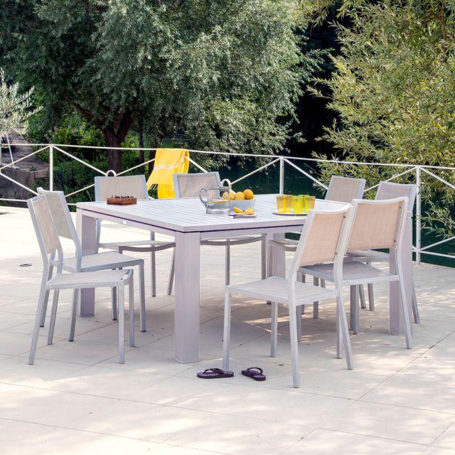 Proloisirs - Salon de jardin 6 places : Table 160 x160 cm + 6 ...