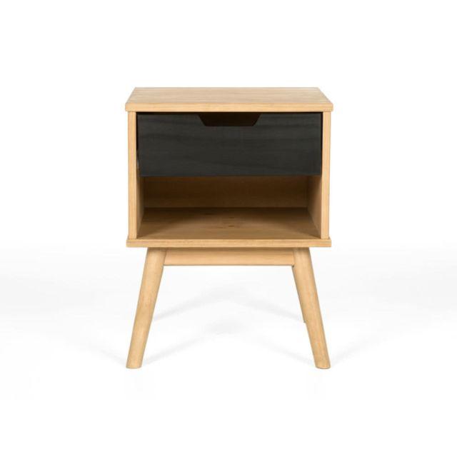 Axe Design - Chevet en bois massif 1 tiroir H52 cm Fifties - Noir