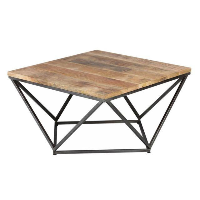 Tousmesmeubles Table basse carrée Métal/Bois - Knox