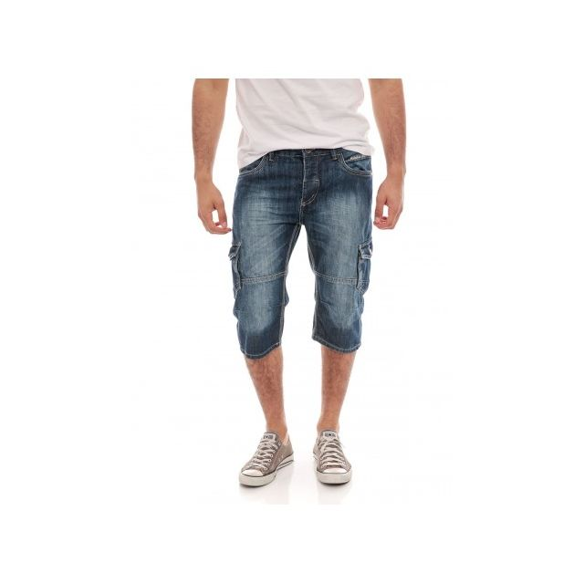 Sarouel Jeans pantacourt  poches plaquées rivetées devant et dos