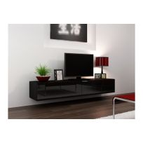 CHLOE DESIGN - Meuble tv design suspendu Vito 180cm - noir